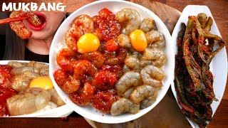 직접만든 간장새우장🦐양념새우장 먹방 갓김치랑 꿀조합  KOREAN POPULAR FOOD EATING SOUN Soy sauce marinated shrimp