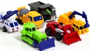 Transformers  Construction Ko Mini Sixbuiler Truck Poclain Bulldozer Crane Vehicle  Robot Car Toys