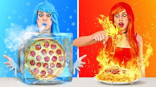 HOT VS COLD FOOD CHALLENGE || Icy Girl VS Girl On Fire! Last To STOP Wins By 123 GO! CHALLENGE