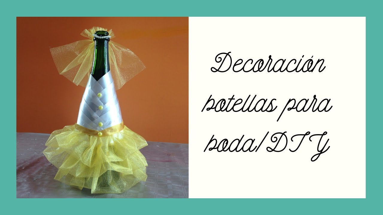 botella de novia bottle decorated for wedding youtube. Black Bedroom Furniture Sets. Home Design Ideas