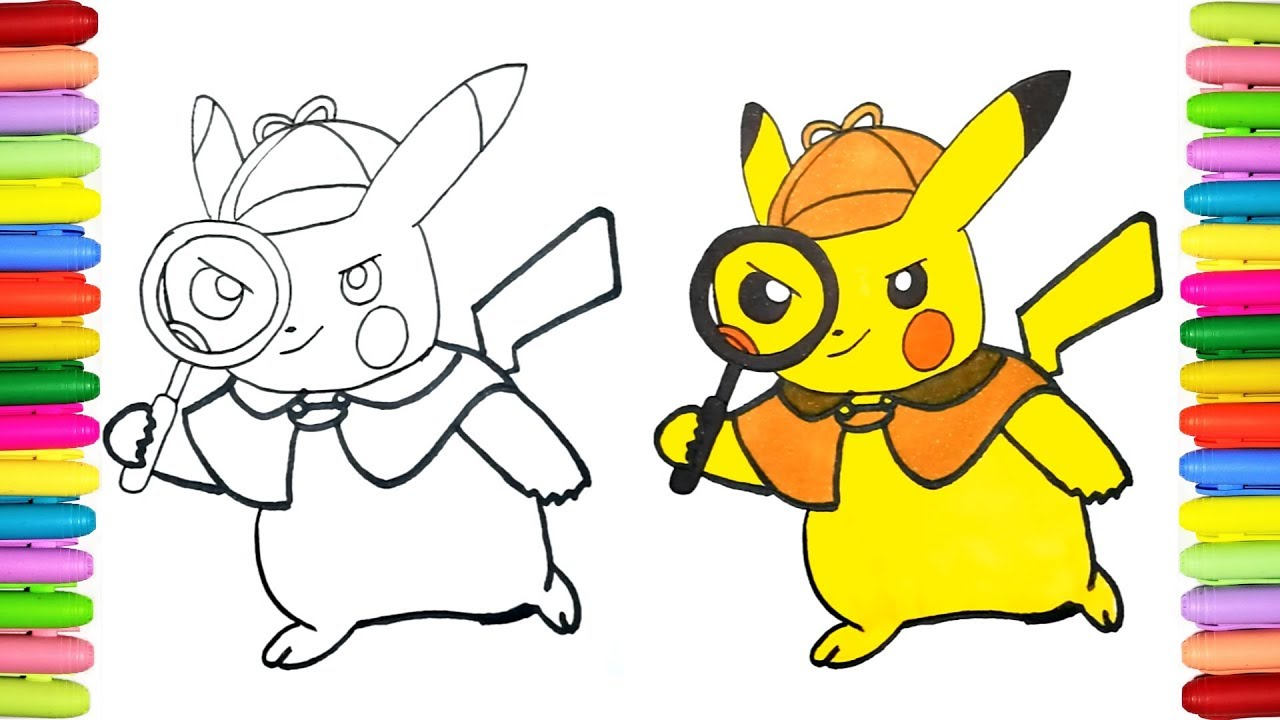 How To Draw Detective Pikachu Drawing Pokemon For Kids Youtube