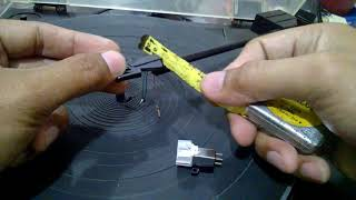 mounting new stylus needle and overhang measurements without overhang gauge for straight tonearm