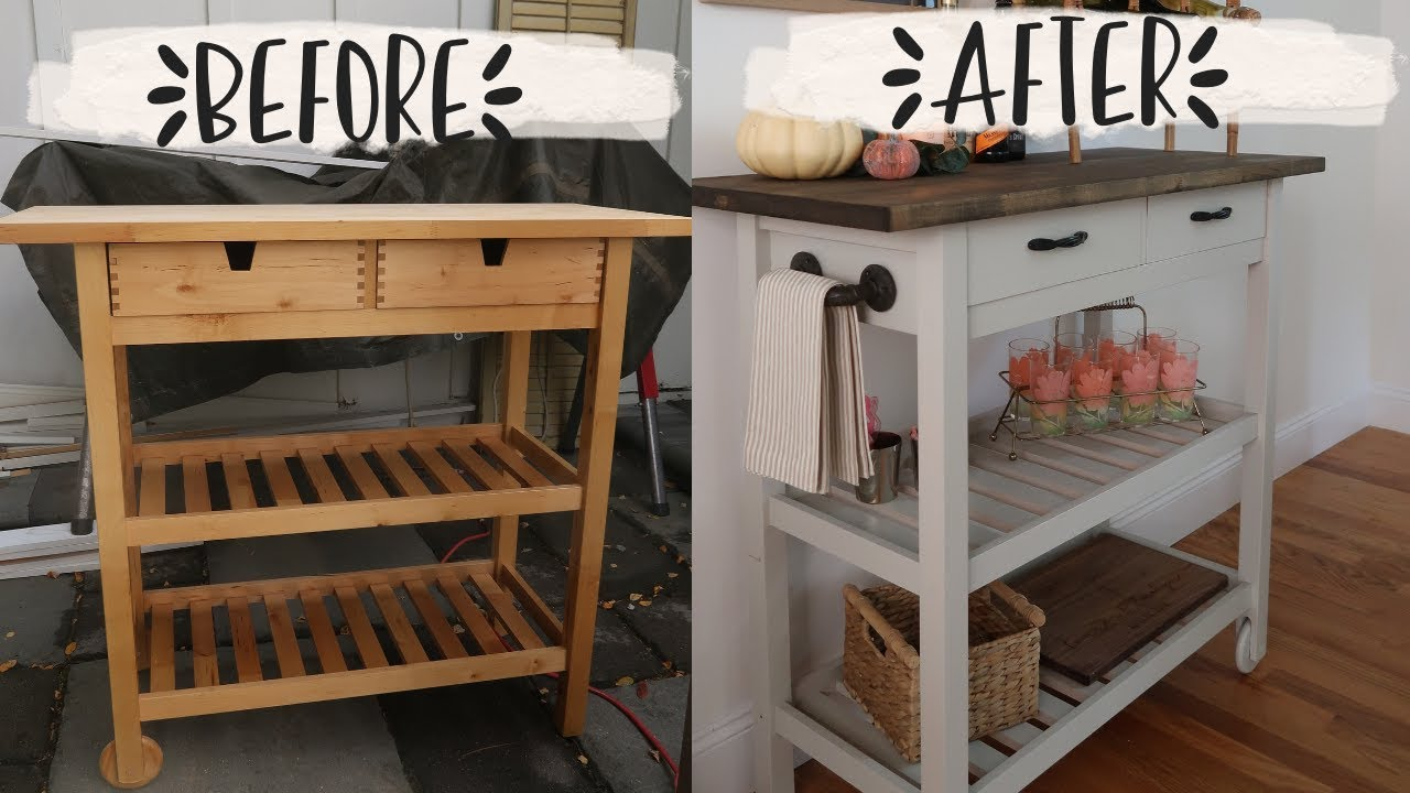 IKEA KITCHEN CART MAKEOVER// bar cart/ coffee bar diy ...