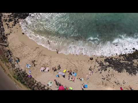 Drone over Poipu Beach 4k Hawaii