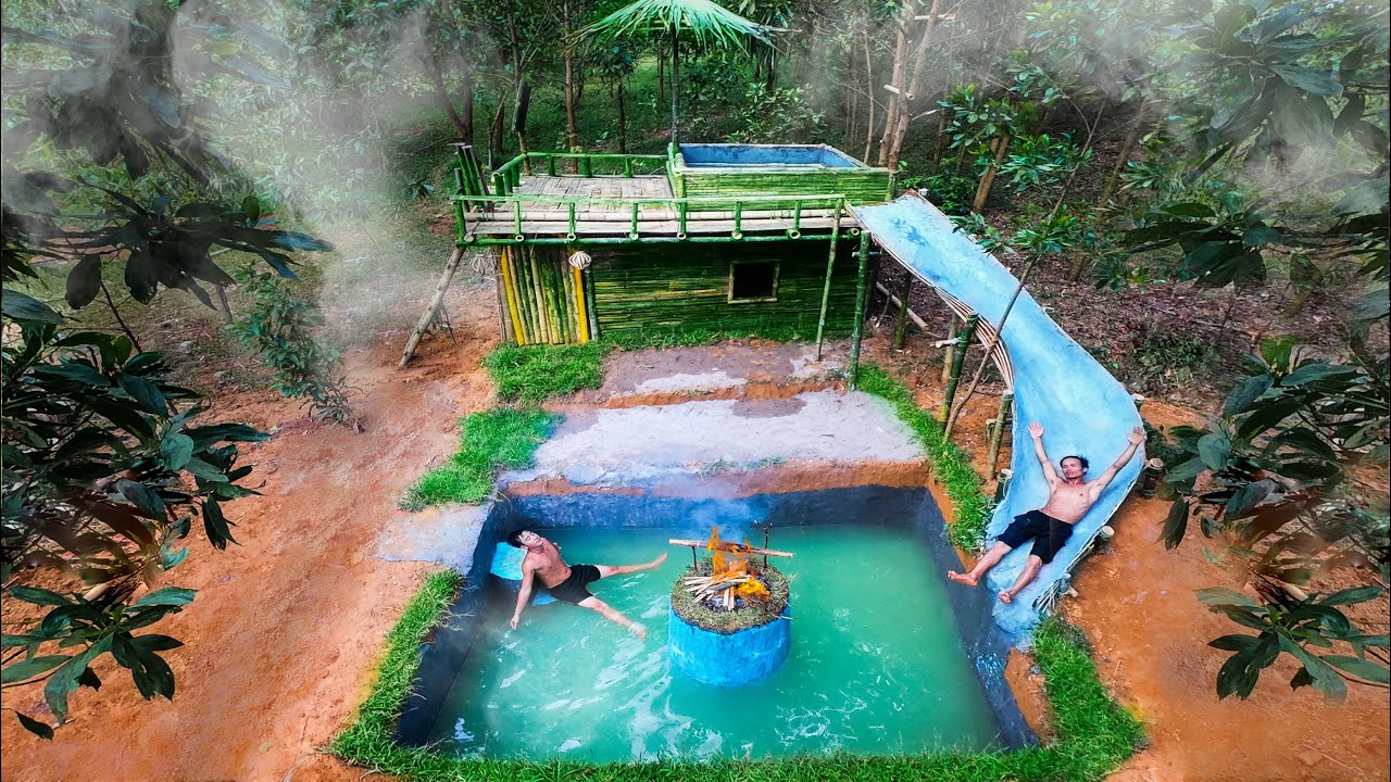 How To Build Swimming Pool Water Slide Around Underground House - Primitive Survival
