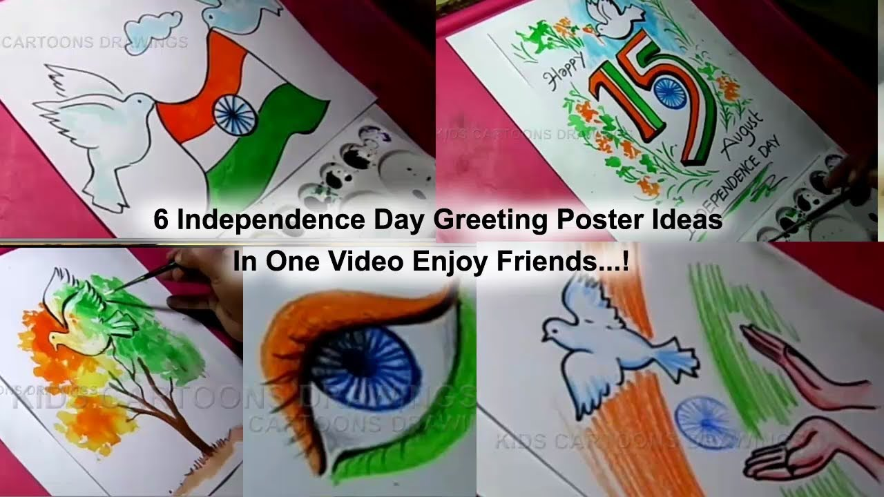 How To Draw Independence Day Greeting Poster 6 Ideas In One Drawing