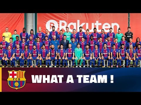 Barça First Team And Women's Team Pose For Official Photo 2017/18