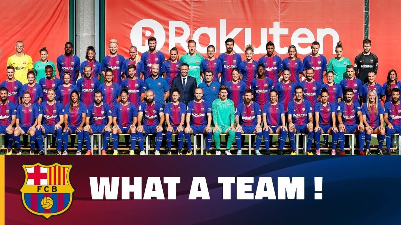 fd0cab3a5 Barça first team and women s team pose for official photo 2017 18. FC  Barcelona