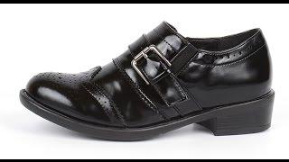 Туфли женские черные лакированные закрытые на каблуке Agata