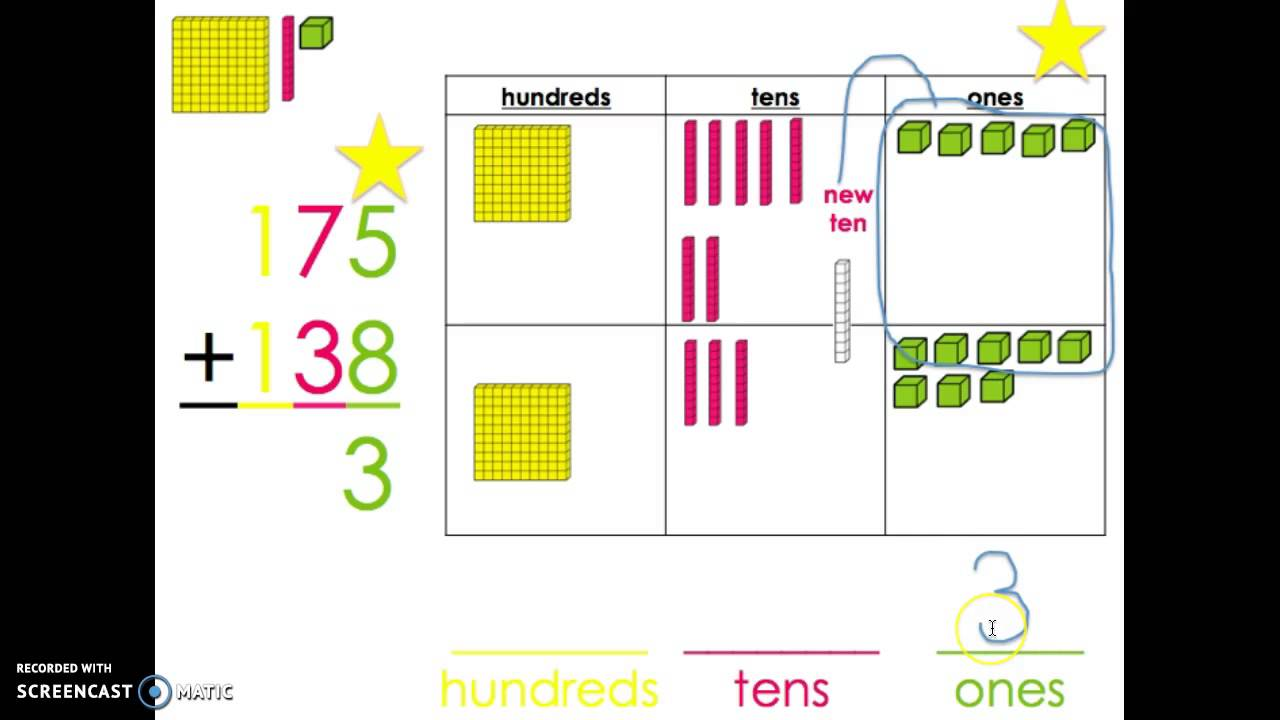 worksheet Adding 3 Digit Numbers adding two 3 digit numbers with composing a new ten hundred base blocks