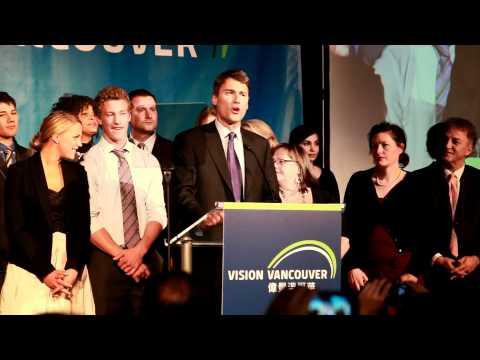 Gregor Robertson after winning Re-election