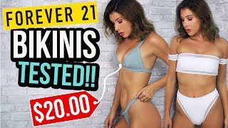 FOREVER 21 SWIMSUITS TESTED !! Cheap Bikini Try On Haul
