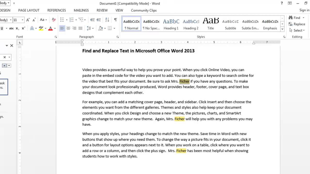how to use ms word replace 2013