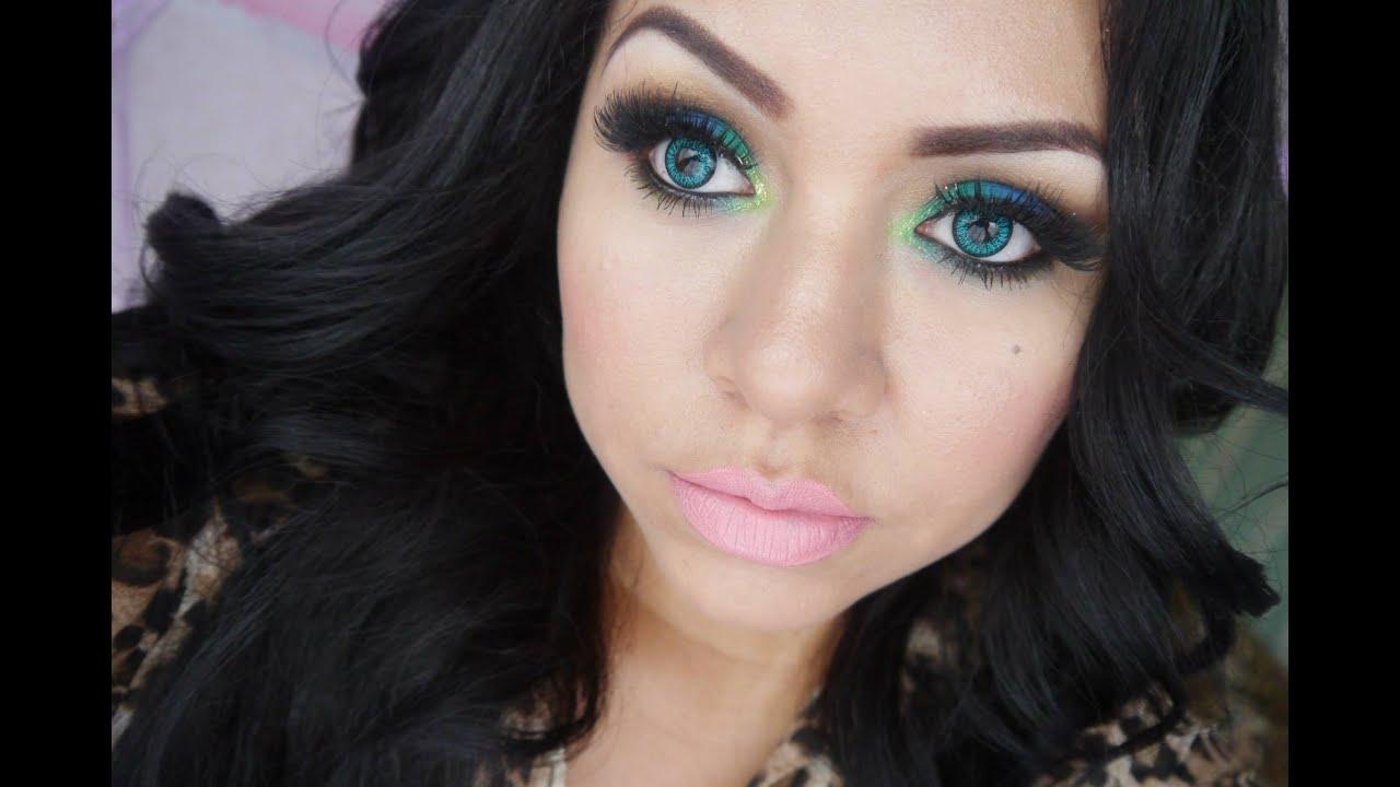 maquillaje de ojos pavo real