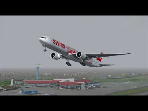 BOEING 777 300ER SWISS TAKE OFF FROM HANOI INTL AIRPORT FS9 HD