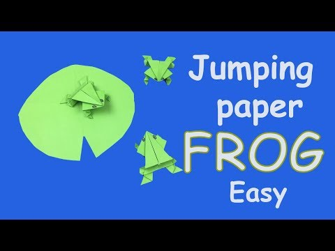 How to make a paper frog that jumps   Origami jumping frog Easy tutorial