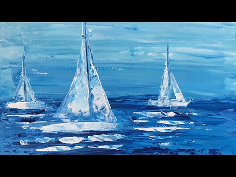 Sail Boats / Seascape / Abstract Painting / Acrylic Painting Tutorial / For Beginners