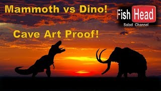 (4) Dinosaur & Mammoth Battle - Cave Art Proof!