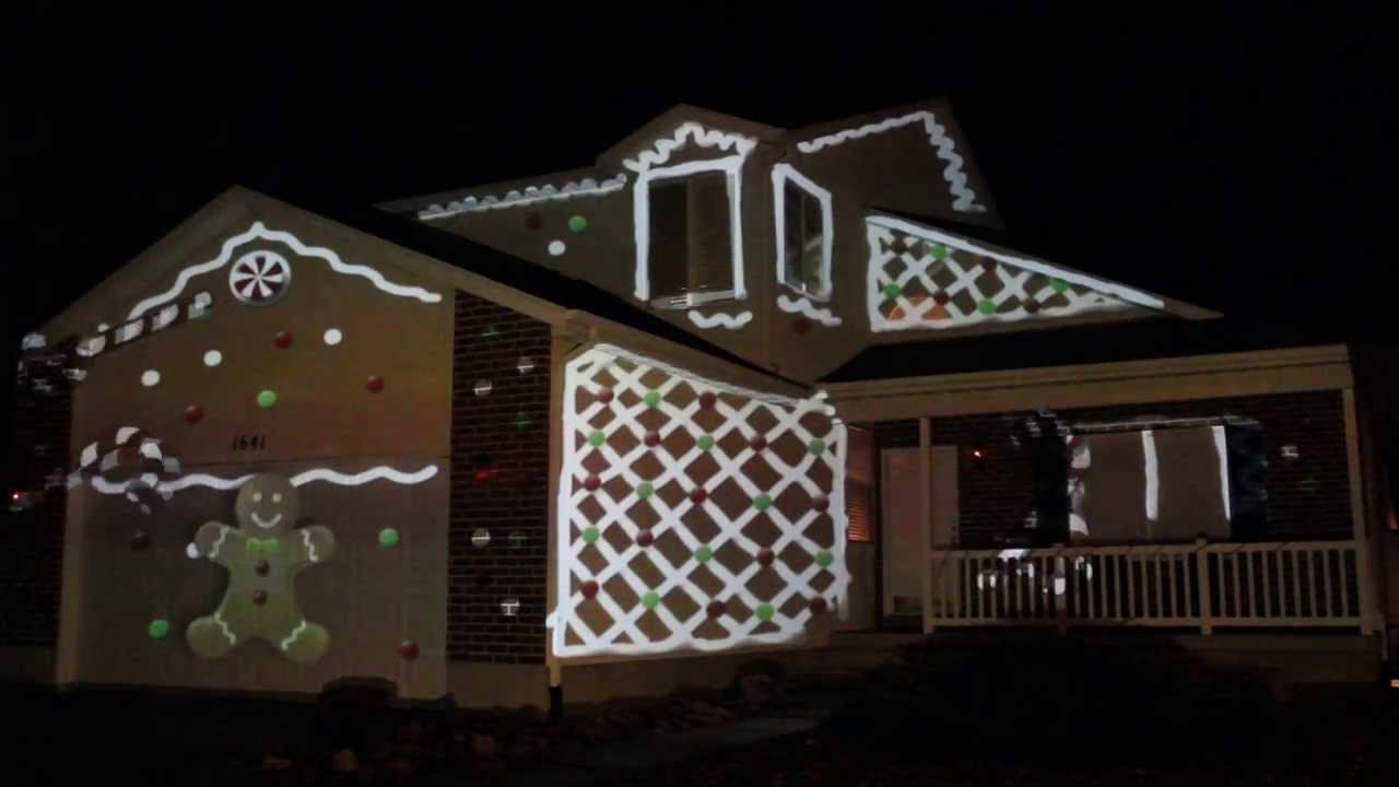 Christmas Lights Projector On House