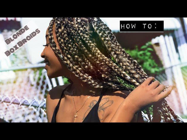 HOW TO: Blonde Box Braids | RUBBERBAND METHOD