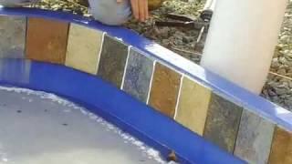 installing waterline tile on a fiberglass pool video