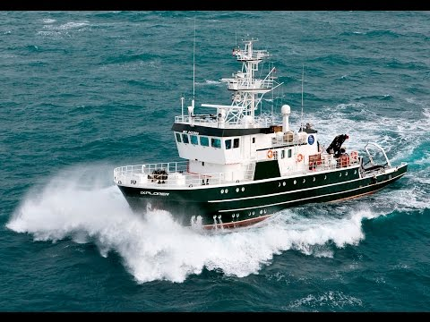 Shipsforsale Sweden, Hydrographic survey / Rescue vessel Ixplorer/Kinfish starting up main engine.