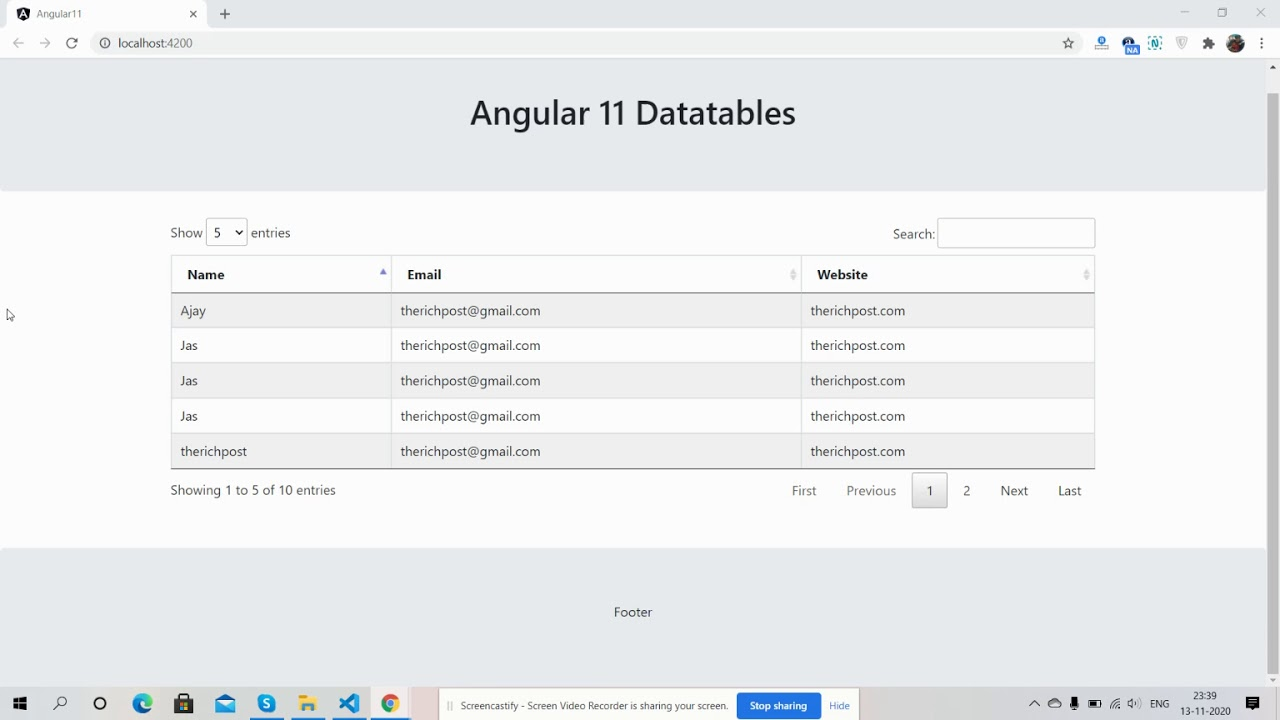 Angular 11 Datatable Working Demo