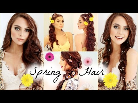 FairyTale Spring Hairstyles! Curls, Braids & Flower Accents | Jackie Wyers