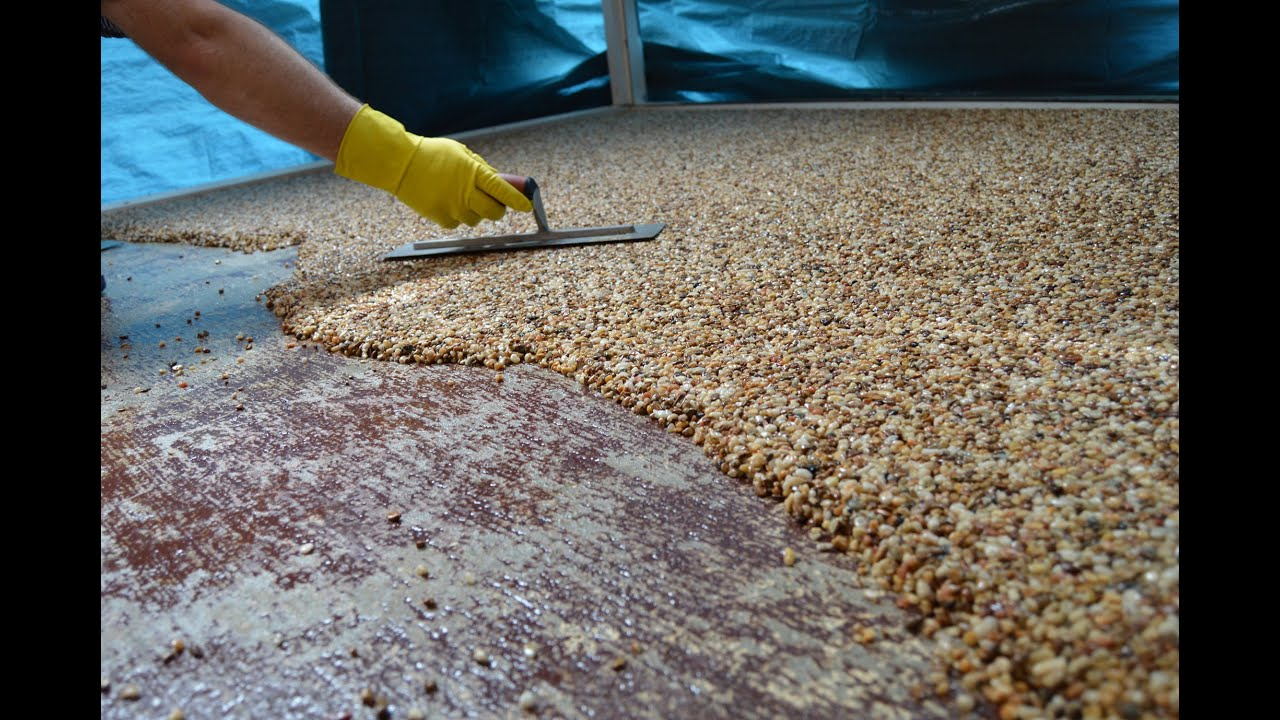 How-To Install Epoxy Natural Stone Flooring - YouTube