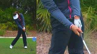 MICHELLE WIE - HANDS THRU IMPACT (CLOSE UP SLOW MOTION) DRIVER GOLF SWING 1080p HD