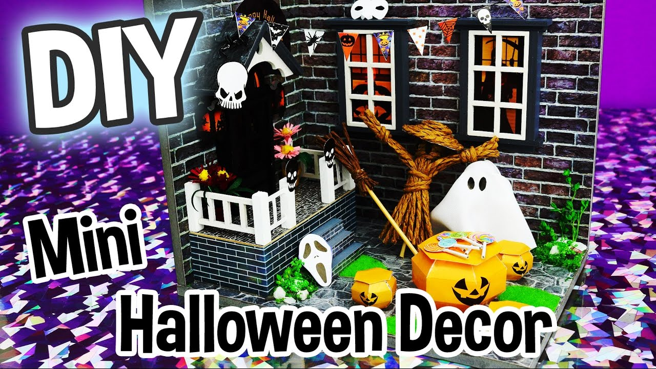 diy halloween decor miniature dollhouse kit cute roombox with working lights relaxing crafts youtube