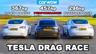 Tesla Model 3 DRAG RACE *Performance v Long Range v Standard Plus*