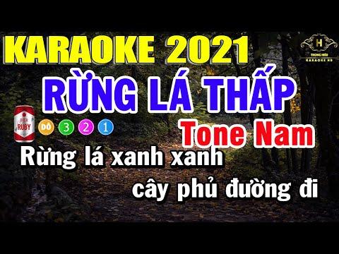 Rừng Lá Thấp Karaoke Tone Nam Nhạc Sống 2021   Trọng Hiếu