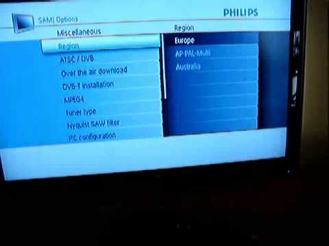 philips lcd tv pfl serie service menu