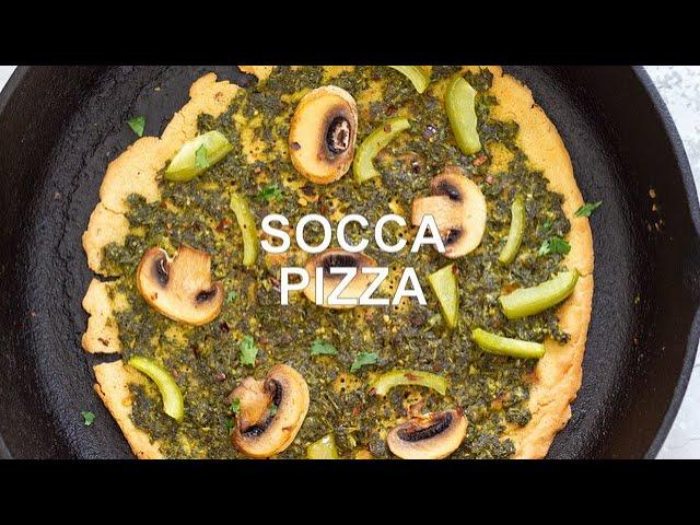 SOCCA PIZZA WITH PESTO AND MUSHROOMS Grainfree | Vegan Richa Recipes
