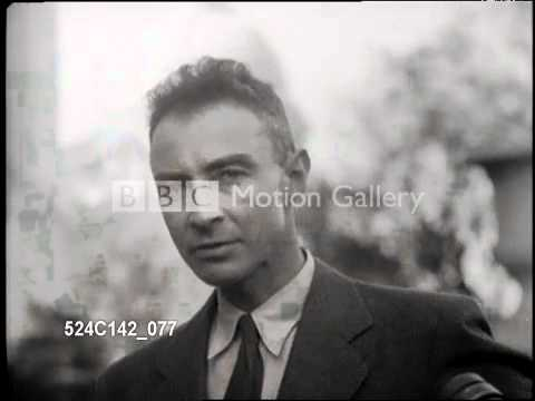 Scientist J. Robert Oppenheimer speaks about atomic bombs at the Capitol Building in Washington, DC