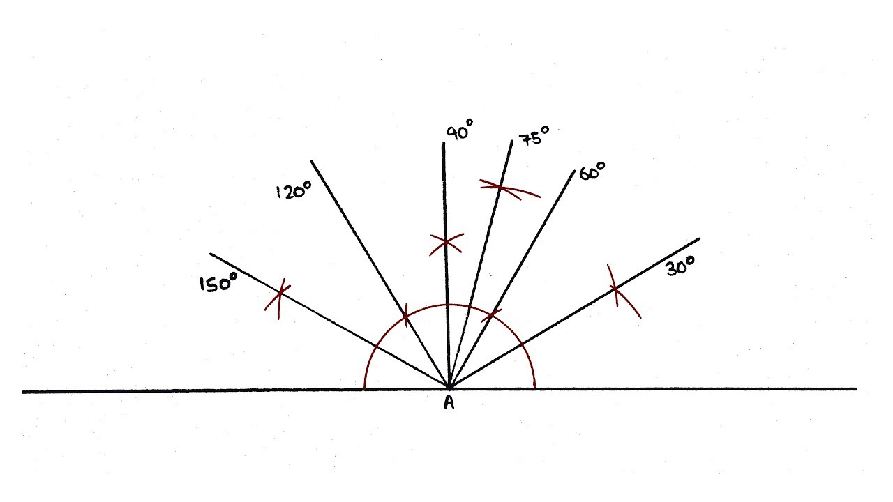 Make 90, 60, 120, 75, 150, 30 degree angles with Compass ...