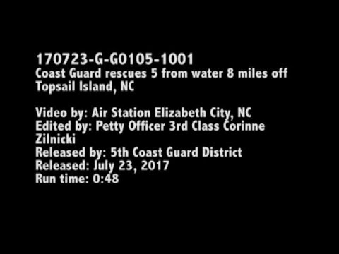 RAW VIDEO: Coast Guard rescues 5 from capsized boat near NC island