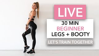 30 MIN BEGINNER LEGS + BOOTY - Let's train together / No Equipment I Pamela Reif