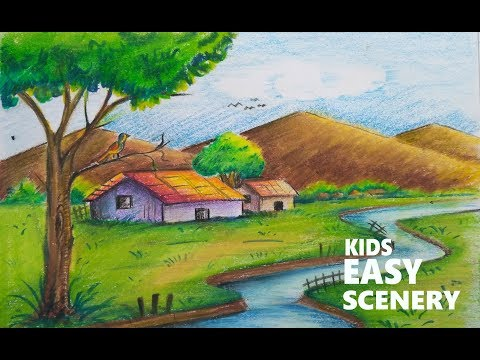 How To Draw Scenery Of A Village With Mountains And River For Kids Step By Step