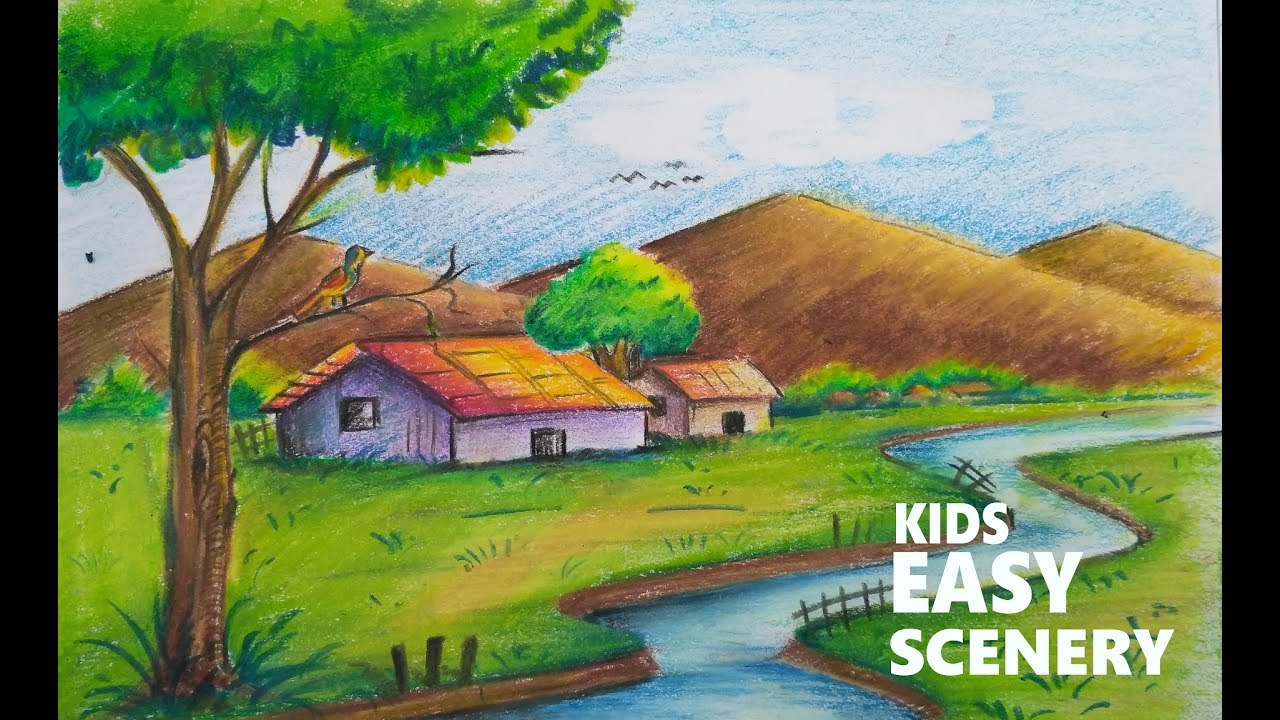 How to draw scenery of a village with mountains and river for kids step by step #1