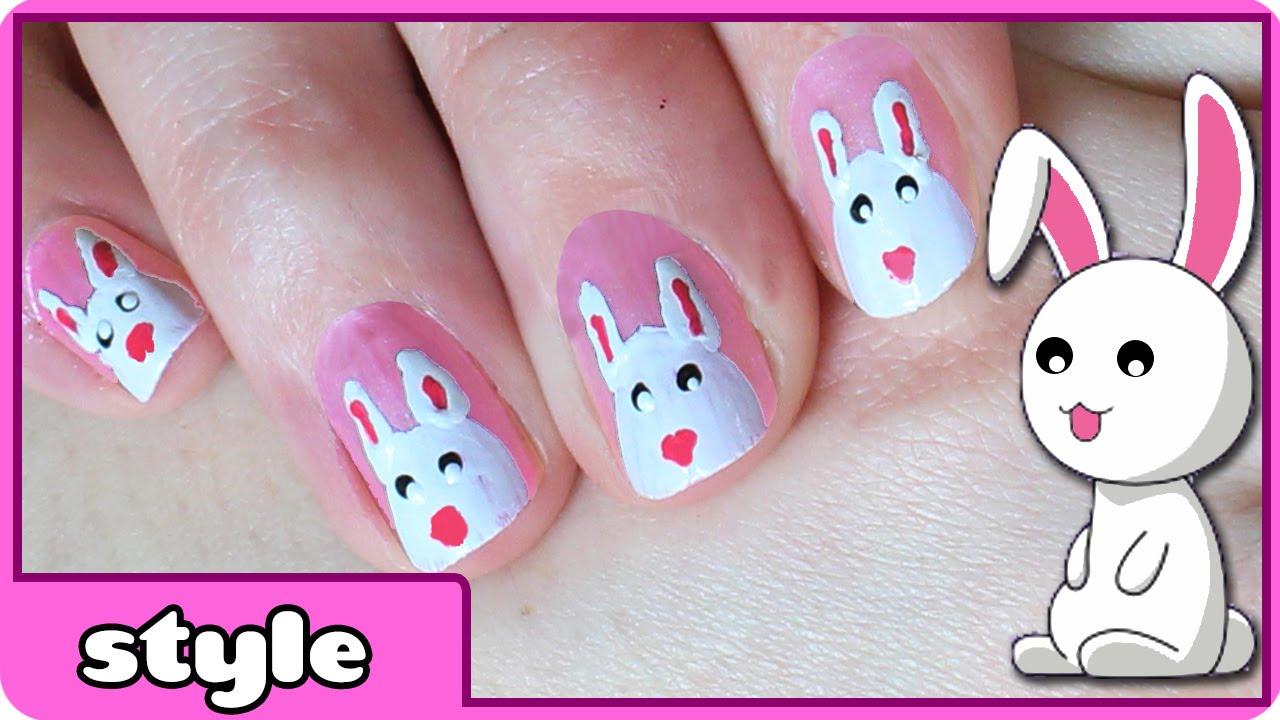 Easter Bunny Nail Art - YouTube