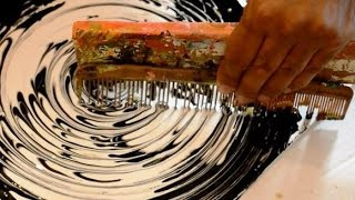 Abstract art Black & White Acrylic Circle Techniques