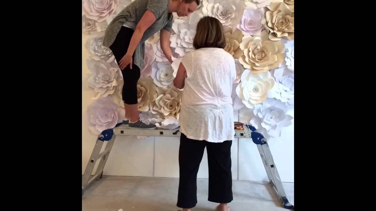 Paper Flower Wall Construction Youtube