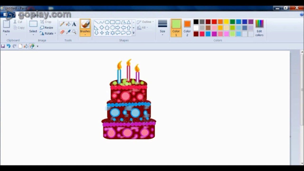 How To Draw Easy Birthday Cake Drawing In Ms Paint