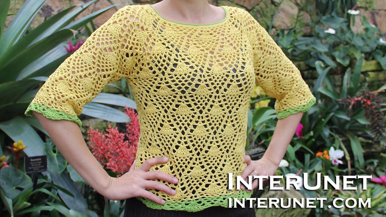 How To Crochet A Raglan Sleeve Sweater Using Pineapple