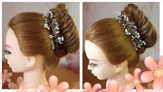 Most Beautiful Hairstyle for Wedding or party ❤ Bridal Bun Hairstyle Tutorial ❤ Easy Hairstyles