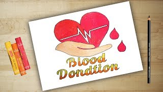 World blood donation day || Blood donor day poster drawing