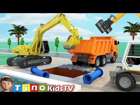 Excavator Hydraulic Hammer Drill & Clamp Trucks for Kids | Fountain Pipe Repair