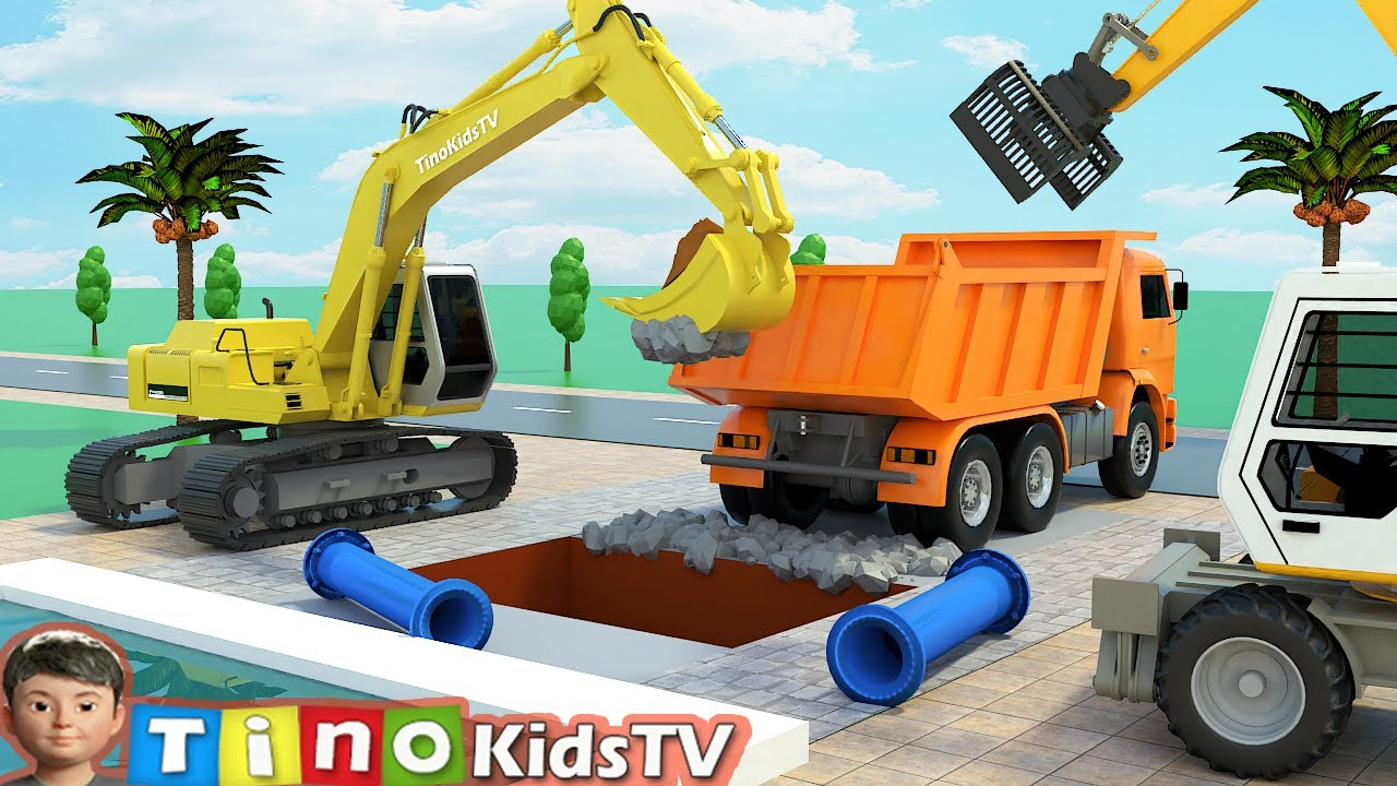 Download Excavator Hydraulic Hammer Drill & Clamp Trucks for Kids | Fountain Pipe Repair